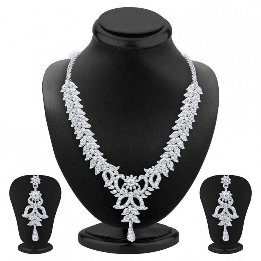 Buy Sukkhi Exquitely Rhodium Plated AD Necklace Set For Women Online