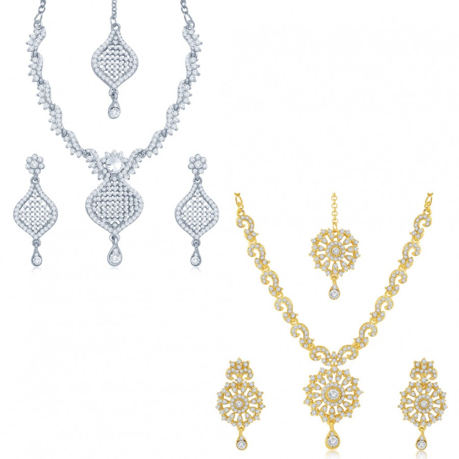 Buy Sukkhi Sparkling 2 Pieces Necklace Set Combo Online
