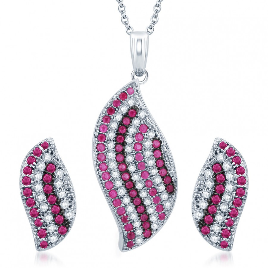 Buy Pissara Finely Rhodium Plated Ruby CZ Micro Pave Pendant Set Online