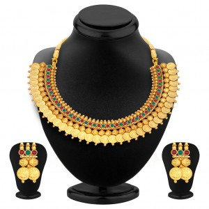 Buy Pissara Stylish Gold Plated Temple Jewellery Coin Necklace Set For Women Online