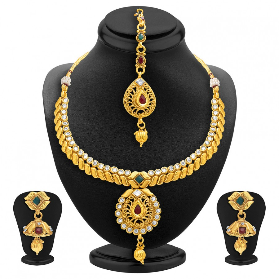 Buy Sukkhi Royal Gold Plated AD Necklace Set For Women Online