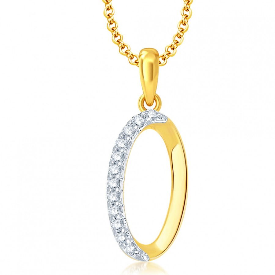 "Buy Pissara Letter"" O"" Gold and Rhodium Plated CZ Alphabet Pendant Online"