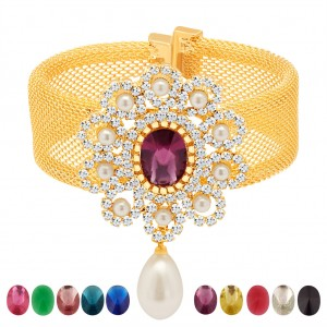 Buy Sukkhi Magnificent Gold Plated AD Ten Changeable Stone Kada Online