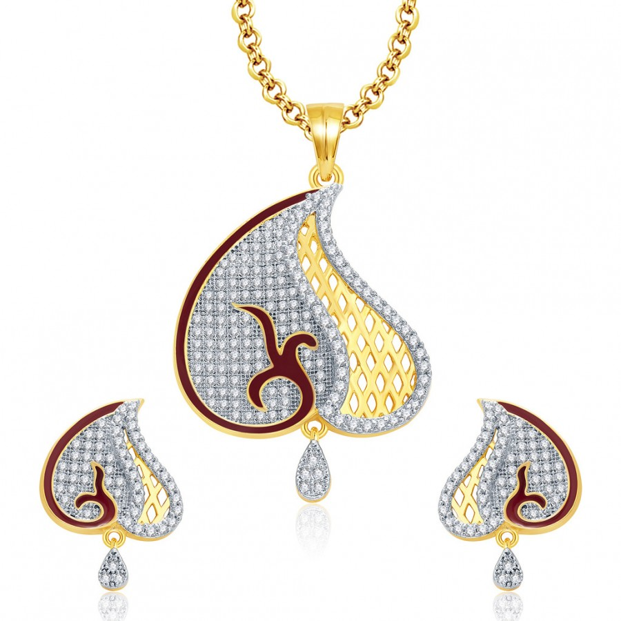 Buy Pissara Angelic Gold And Rhodium Plated CZ Pendant Set For Women Online