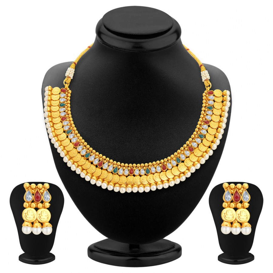 Buy Sukkhi Shimmering Gold Plated Kundan Necklace Set For Women Online