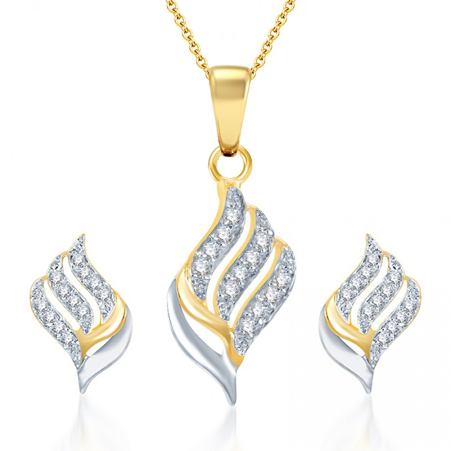 Buy Pissara Well Crafted Gold and Rhodium Plated CZ Pendant Set Online