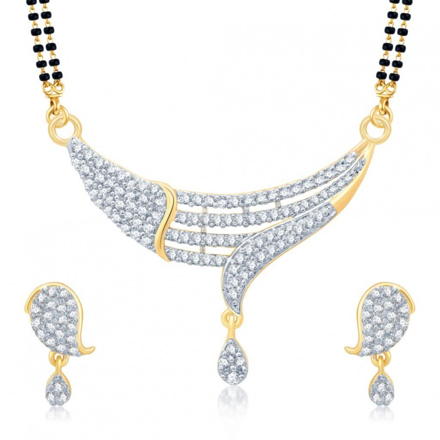 Buy Pissara Sublime Gold and Rhodium Plated Cubic Zirconia Stone Studded Mangalsutra Set Online