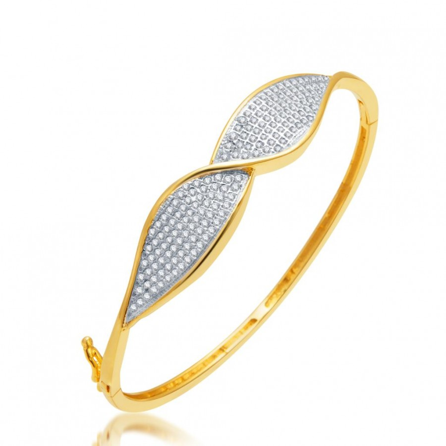 Buy Pissara Moddish Gold and Rhodium Plated CZ Micro Pave Kada for Women Online
