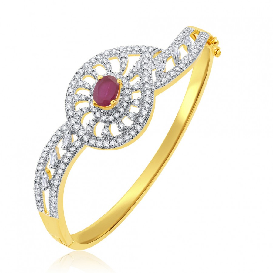 Buy Pissara Dangling Gold And Rhodium Plated Ruby CZ Kada For Women Online