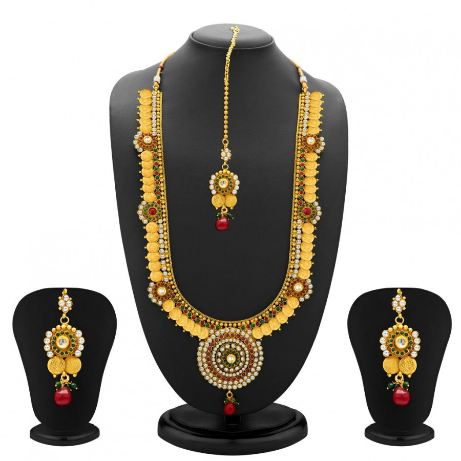 Buy Sukkhi Glimmery Gold Plated Temple Jewellery Coin Long Necklace Set for Women Online