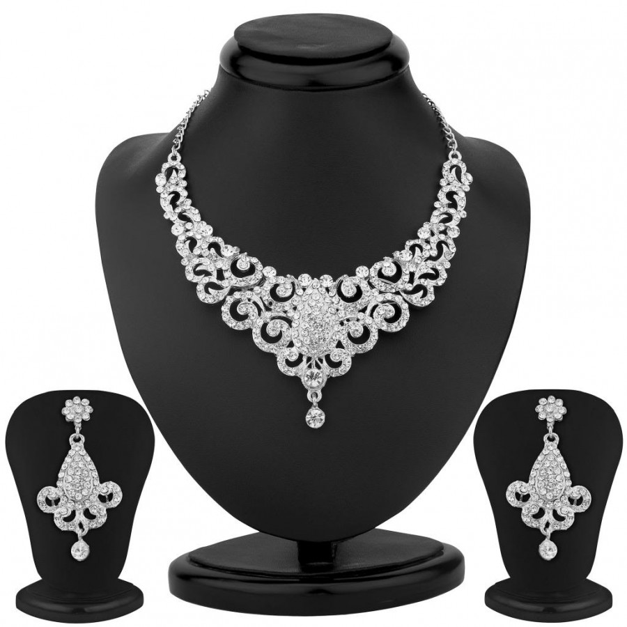 Buy Sukkhi Incredible Rhodium Plated Australian Diamond Necklace Set Online