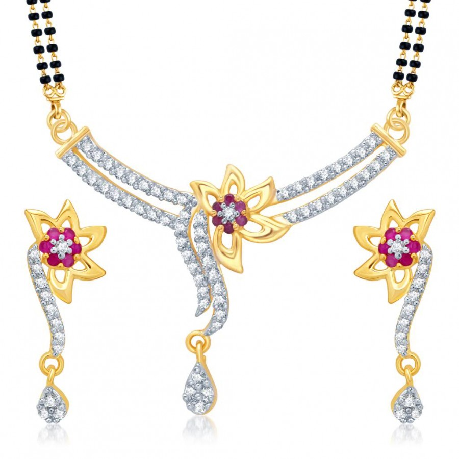 Buy Pissara Excellent Gold and Rhodium Plated Cubic Zirconia and Ruby Stone Studded Mangalsutra Set Online