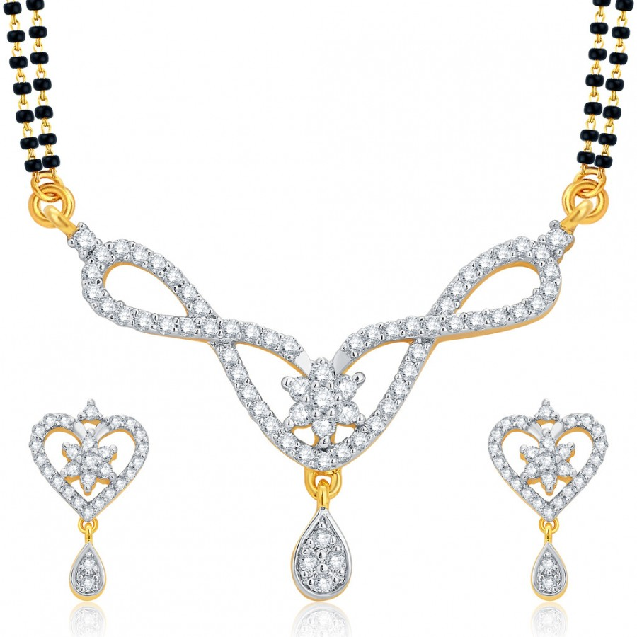 Buy Pissara Alluring Gold and Rhodium Plated CZ Mangalsutra Set For Women Online