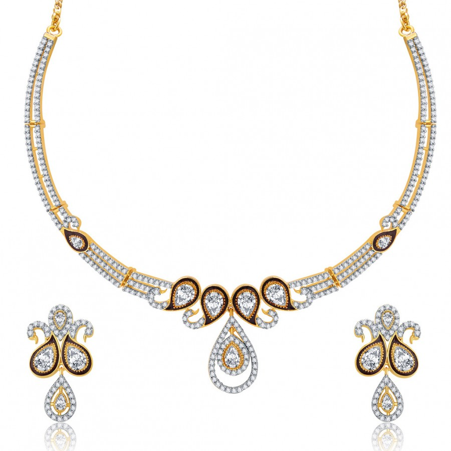 Buy Pissara Dainty Peacock Gold And Rhodium Plated CZ Neklace Set For Women Online