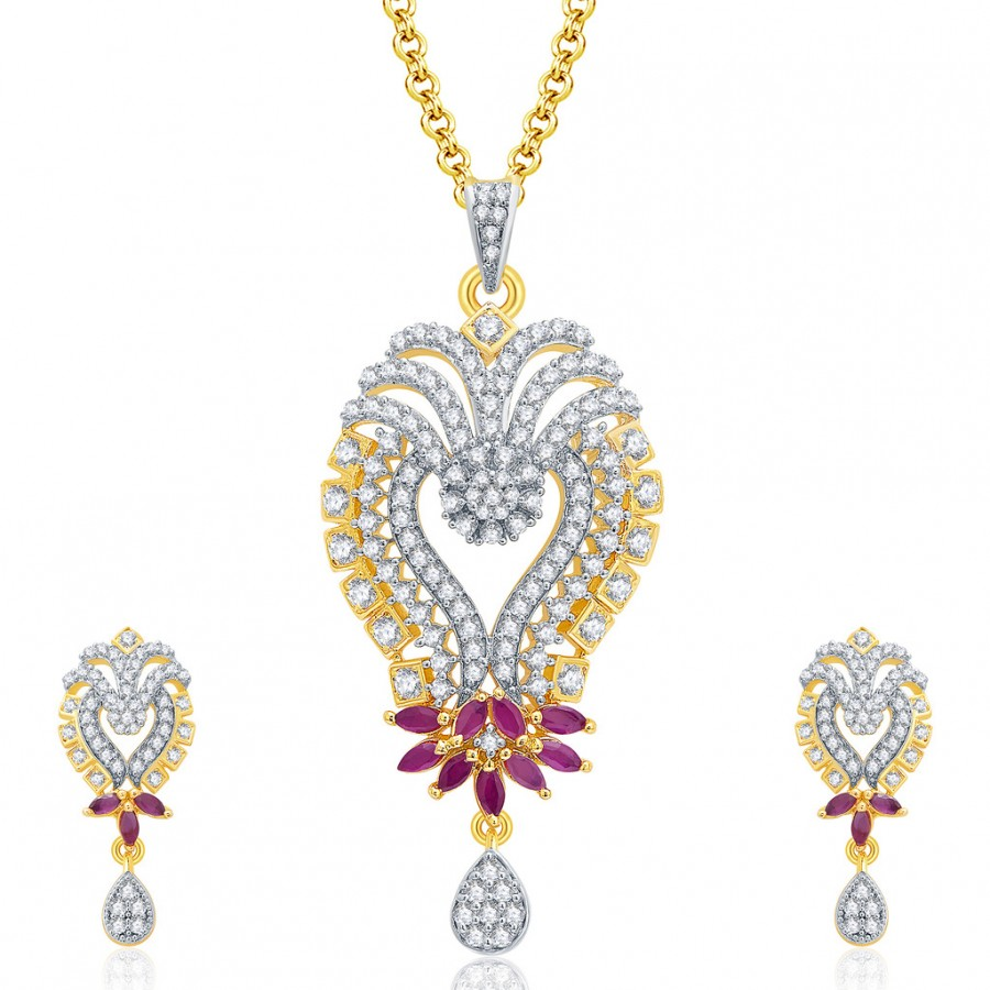 Buy Pissara Glittery Gold And Rhodium Plated Ruby CZ Pendant Set For Women Online