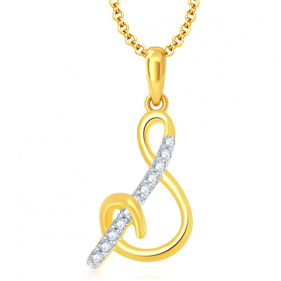chain initial products necklace pendant s stainless letter goldtone alphabet rose steel charm
