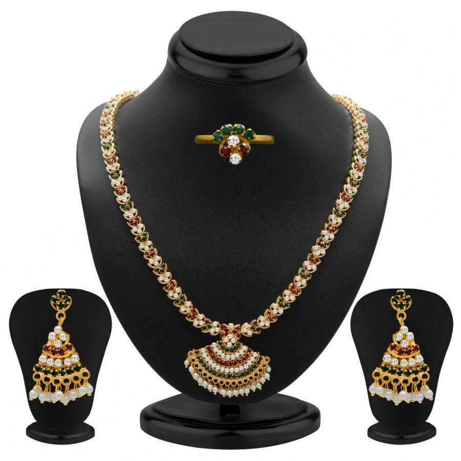 Buy Sukkhi Ritzzy Marron, Green and White Colour Stone Studded Necklace Set Online