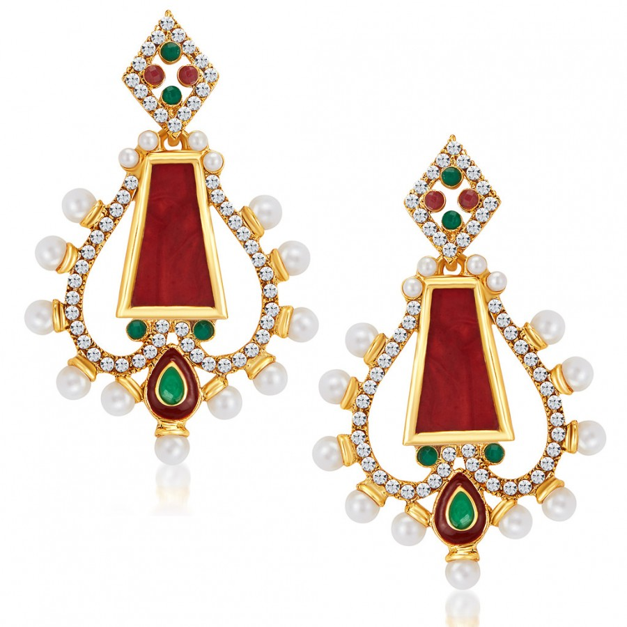 Buy Sukkhi Dazzling Gold Plated Australian Diamond Earrings Online