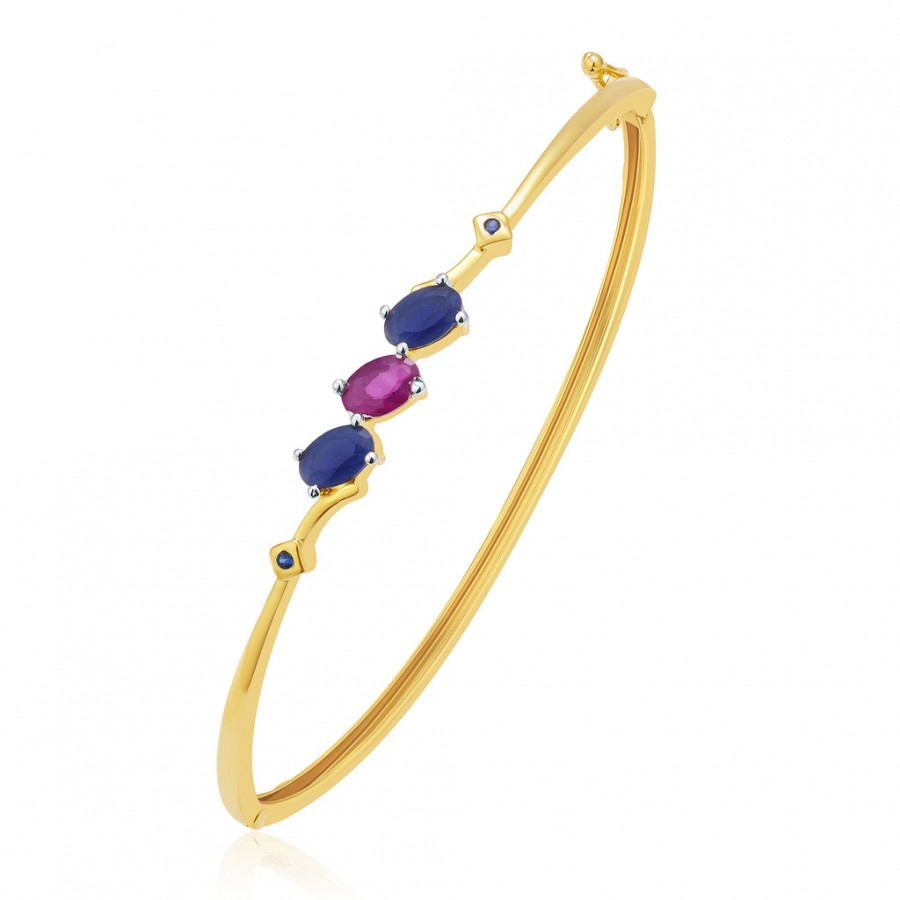Buy Pissara Rare Gold And Rhodium Plated Ruby CZ Kada For Women Online