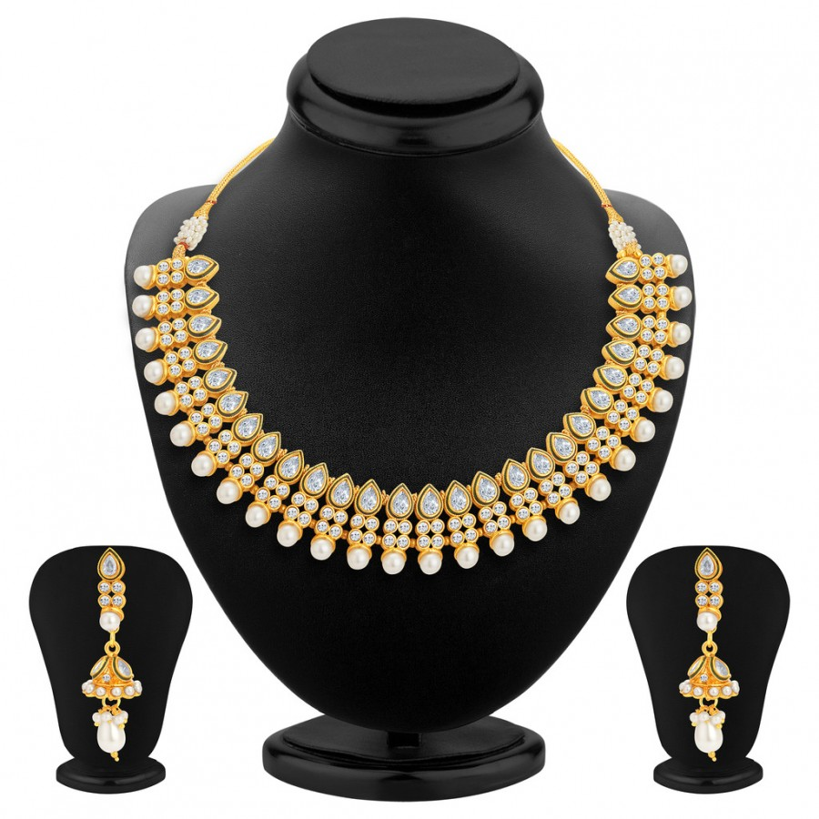 Buy Sukkhi Fine Gold Plated Kundan Necklace Set For Women Online