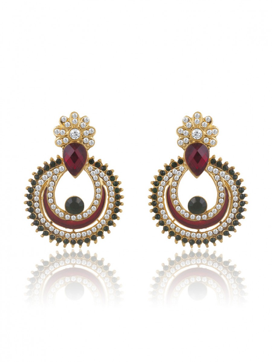 Buy Sukkhi Gleaming Gold Plated AD Chandbali Earring For Women Online