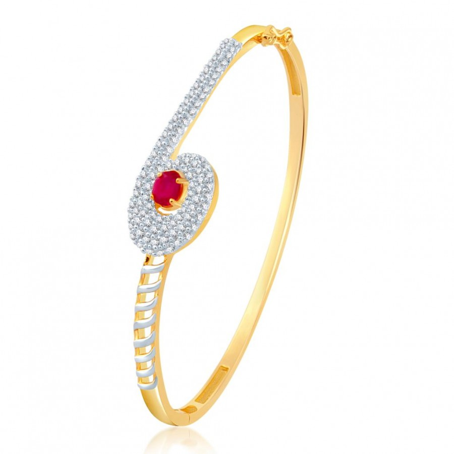 Buy Pissara Royal Gold and Rhodium Plated CZ Ruby Kada for Women Online