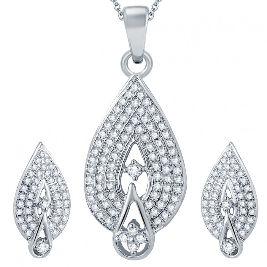 Buy Pissara Attractive Rhodium plated Micro Pave Setting CZ Pendant Set Online
