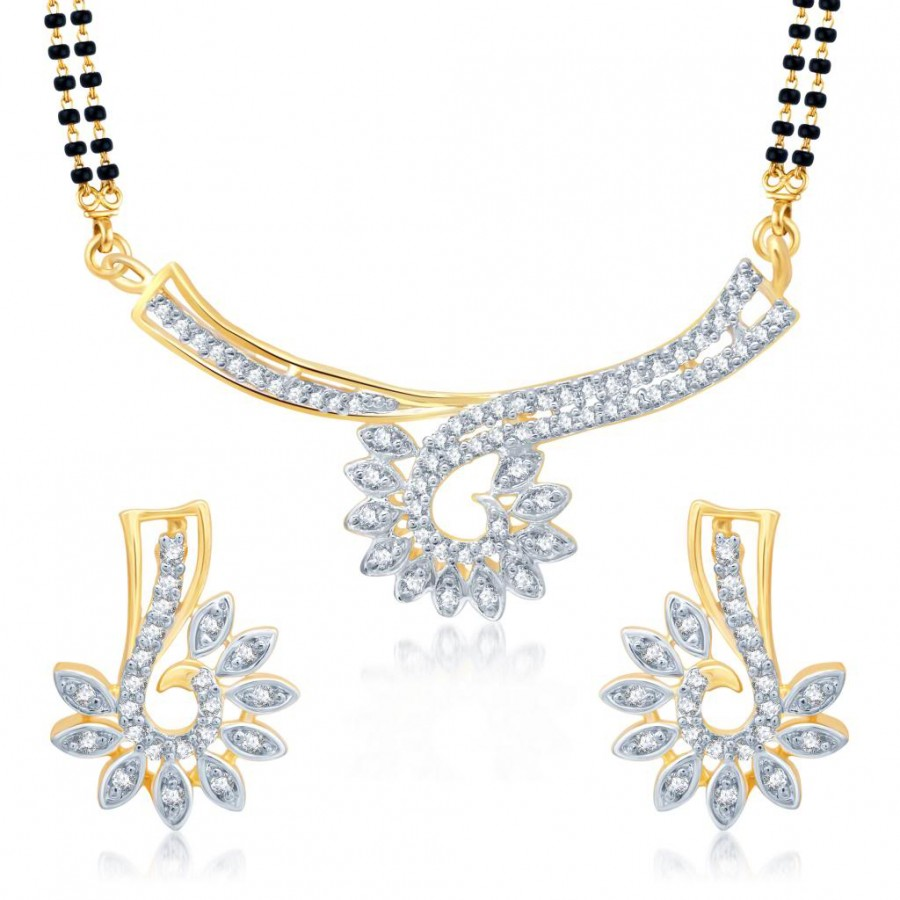 Buy Pissara Glimmery Gold and Rhodium Plated Cubic Zirconia Stone Studded Mangalsutra Set Online