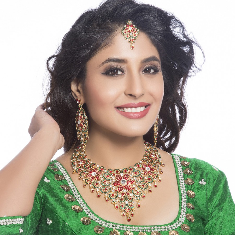 Buy Sukkhi - Kritika Kamra Trendy Gold Plated Australian Diamond Wedding Necklace Set Online