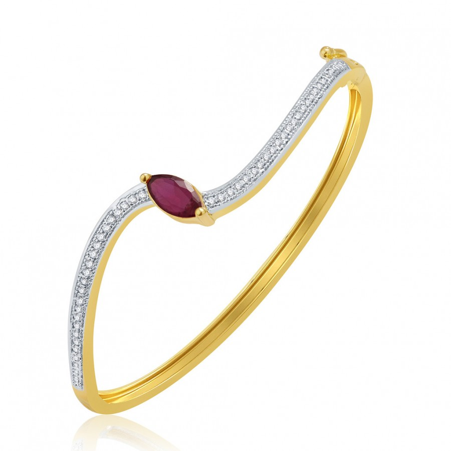 Buy Pissara Exhilarating Gold And Rhodium Plated Ruby CZ Kada For Women Online