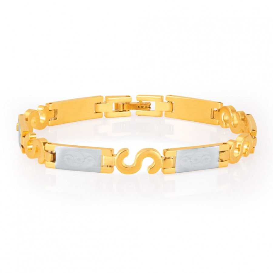 Buy Sukkhi Exquitely Gold and Rhodium Plated Bracelet For Men Online