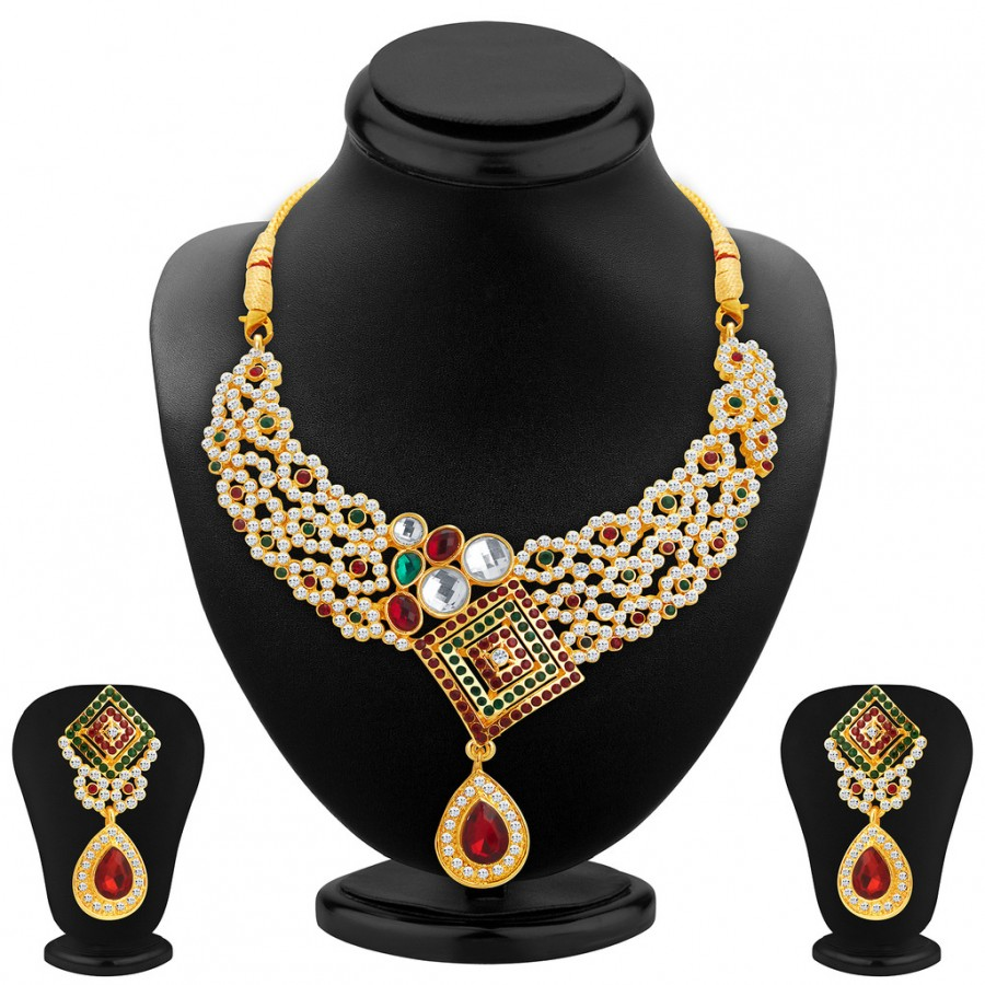 Buy Sukkhi Brilliant Gold Plated AD Necklace Set For Women Online