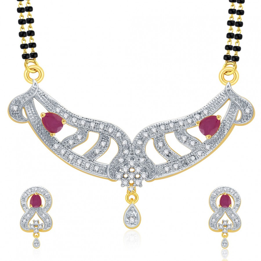 Buy Pissara Sublime Gold And Rhodium Plated Ruby CZ Mangalasutra Set For Women Online