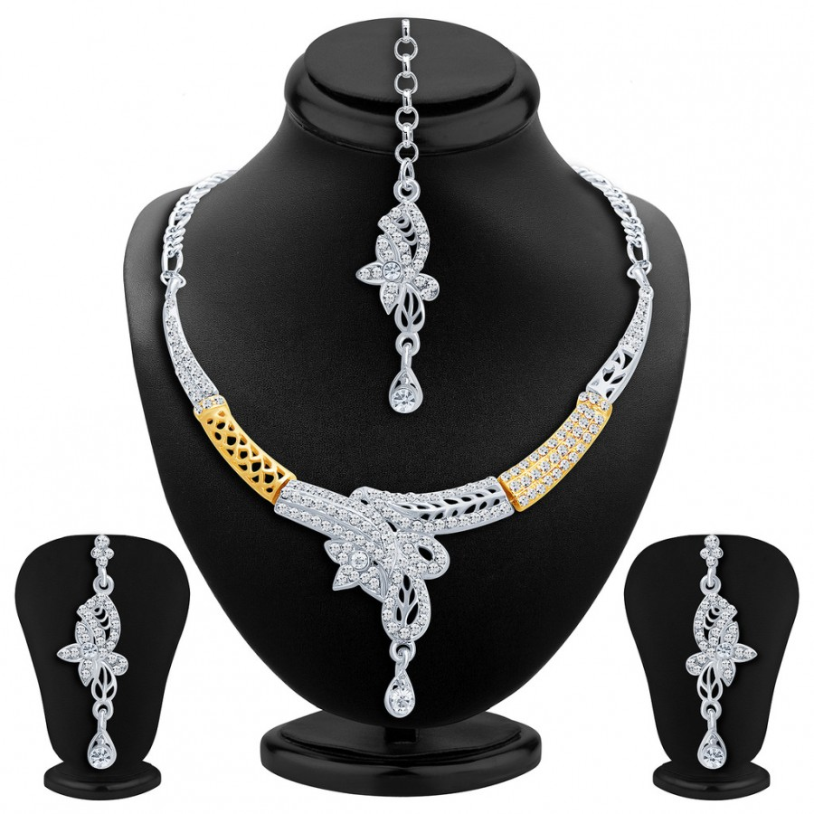 Buy Sukkhi Youthful Gold and Rhodium Plated AD Necklace Set Online
