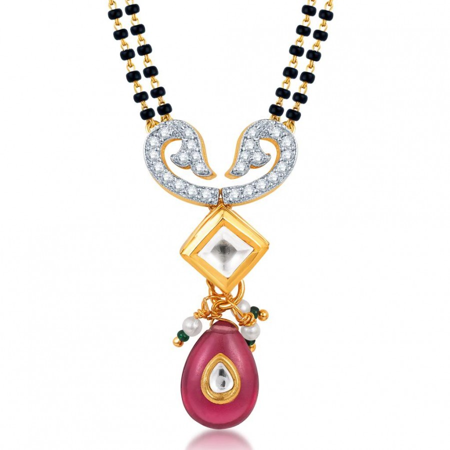 Buy Pissara Intricately Crafted Gold Plated Kundan CZ Mangalsutra Pendant Online