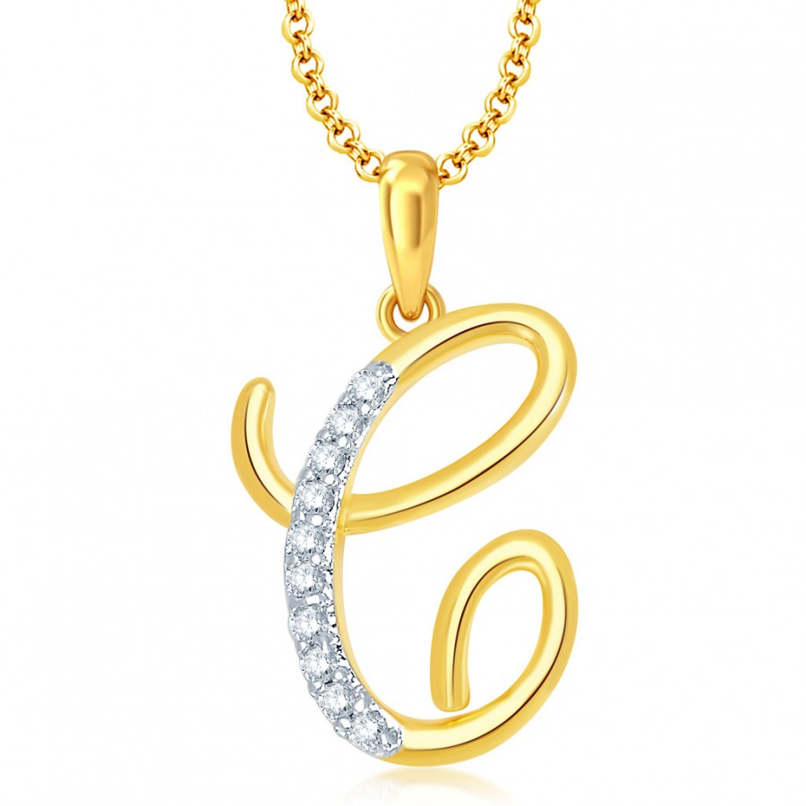 "Buy Pissara Letter"" C"" Gold and Rhodium Plated CZ Alphabet Pendant Online"