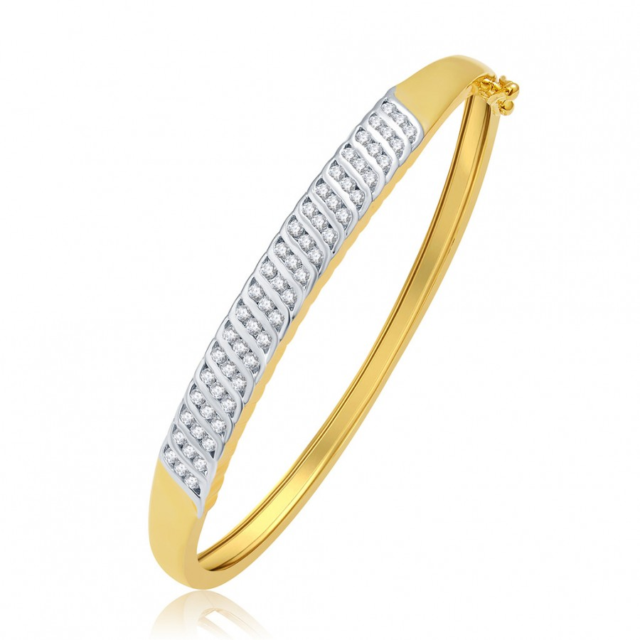 Buy Pissara Winsome Gold And Rhodium Plated CZ Kada For Women Online