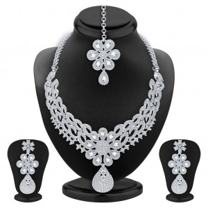 Buy Sukkhi Exquisite Rhodium Plated AD Necklace Set For Women Online