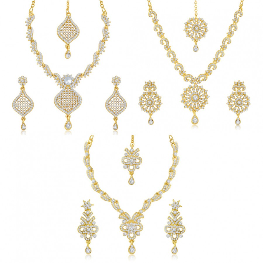 Buy Sukkhi Delightful 3 Pieces Necklace Set Combo Online