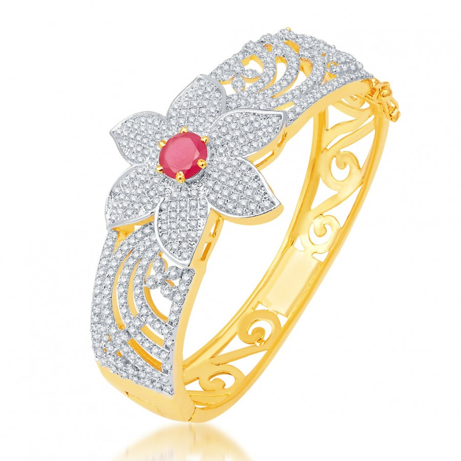 Buy Pissara Stylish Gold and Rhodium Plated CZ Kada Online