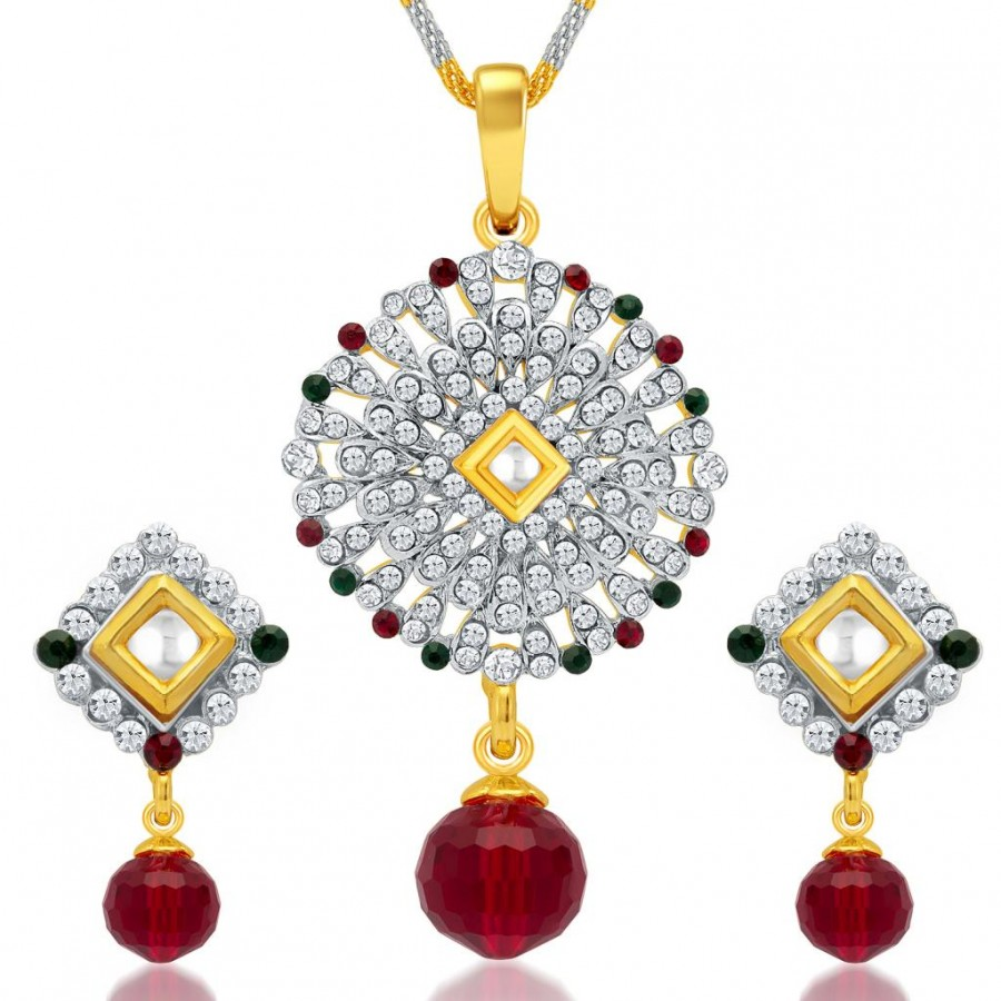 Buy Sukkhi Excellent Gold and Rhodium Plated AD Kundan Pendant Set for Women Online