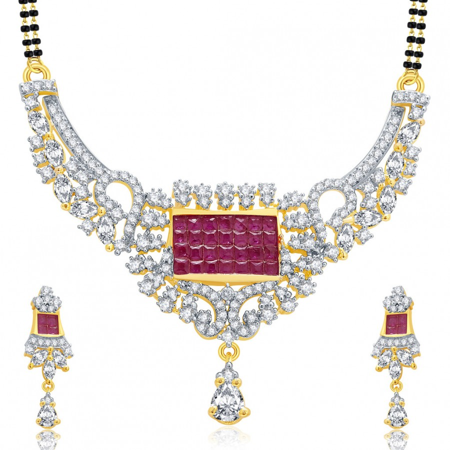 Buy Pissara Exceptional Gold And Rhodium Plated Ruby CZ Mangalasutra Set For Women Online