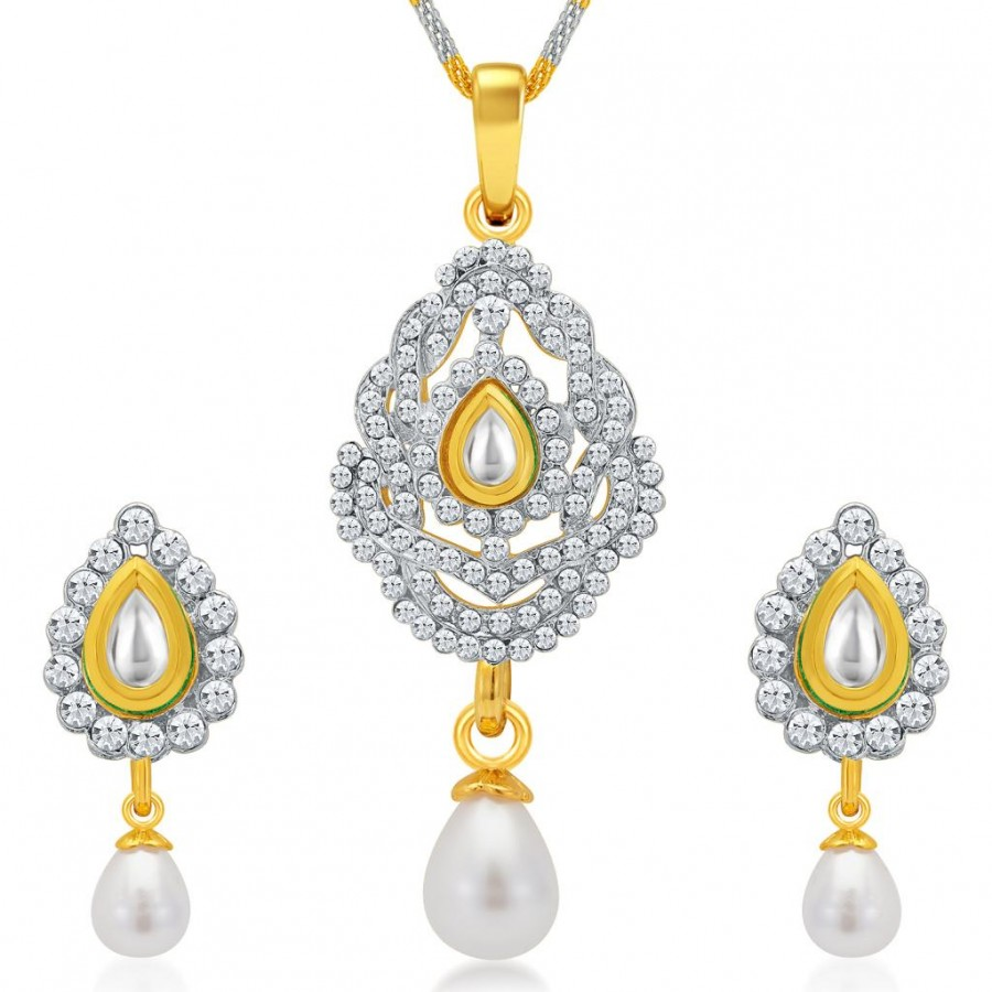 Buy Sukkhi Designer Gold and Rhodium Plated AD Kundan Pendant Set for Women Online