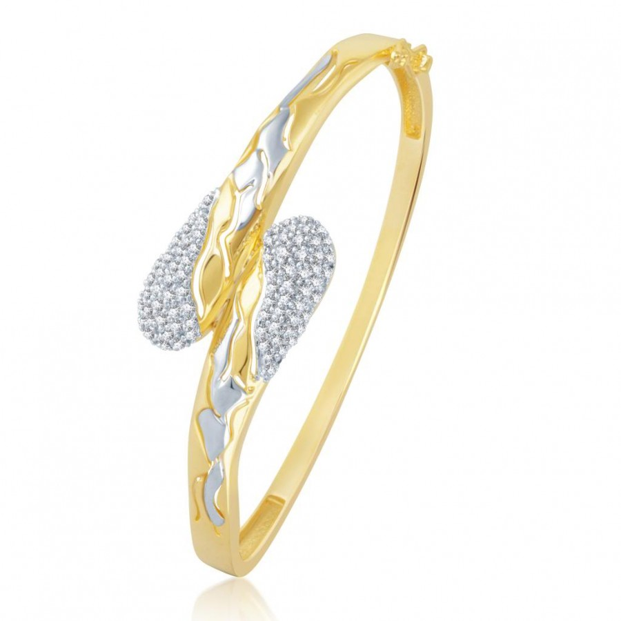 Buy Pissara Eye-Catchy Gold and Rhodium Plated Cubic Zirconia Stone Studded Kada Online