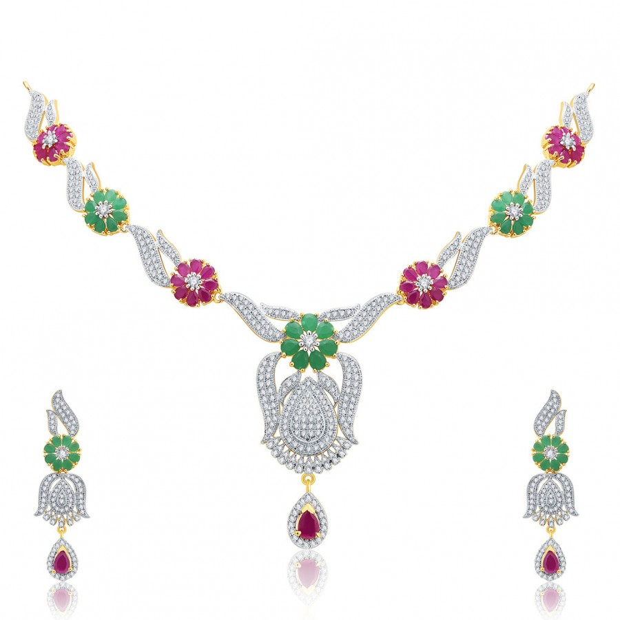 Buy Pissara Modish Gold And Rhodium Plated Ruby CZ Neklace Set For Women Online