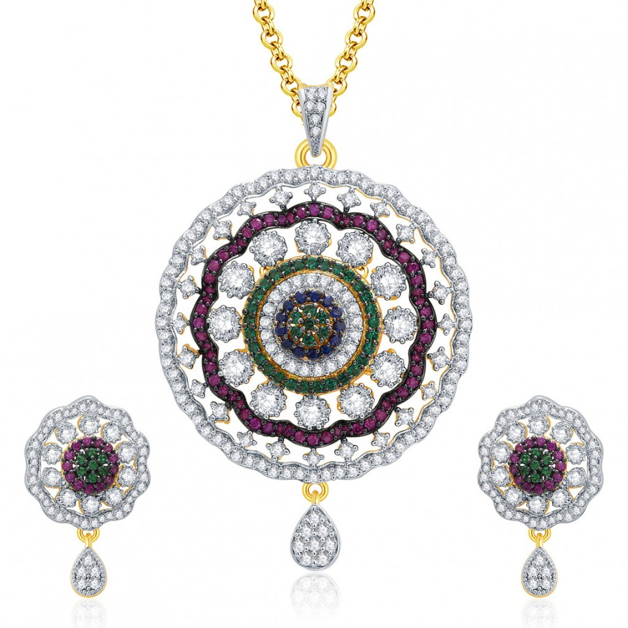 Buy Pissara Enchanting Gold And Rhodium Plated CZ Pendant Set For Women Online