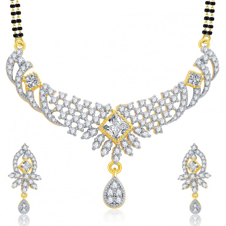 Buy Pissara Lively Gold And Rhodium Plated CZ Mangalasutra Set For Women Online