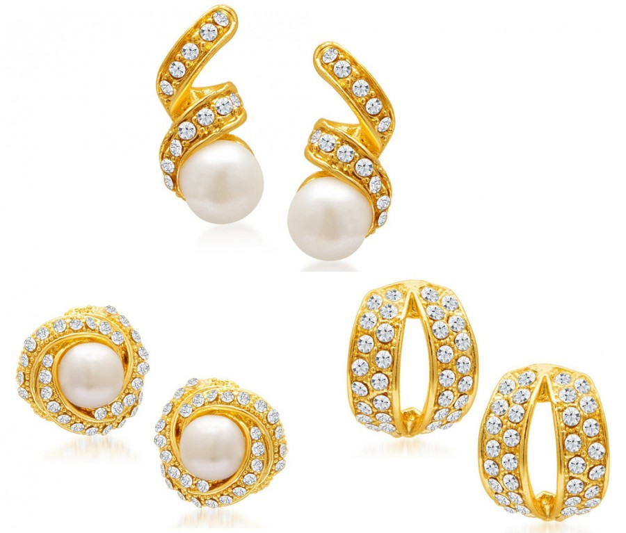 Buy Sukkhi Divine Gold Plated Alloy Set of 3 Stud Earrings Combo Online