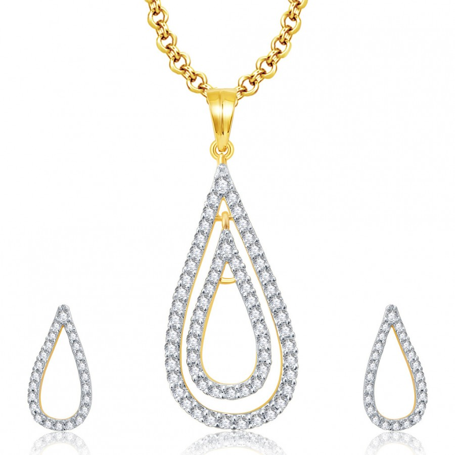 Buy Pissara Opulent Gold And Rhodium Plated CZ Pendant Set For Women Online