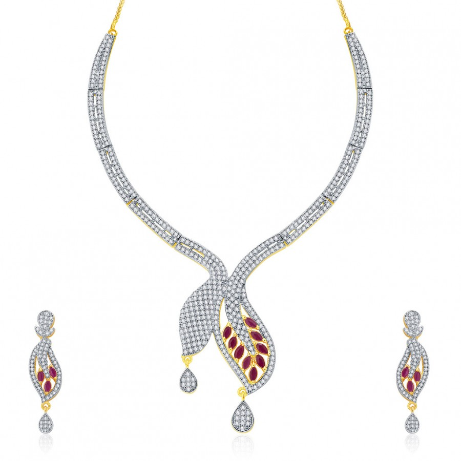 Buy Pissara Glossy Gold And Rhodium Plated Ruby CZ Neklace Set For Women Online